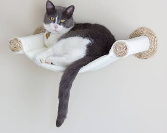 Cat Hammock - Wall Mounted Cat Shelf - Cream