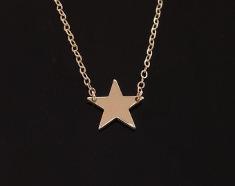 Celebrity Star Necklace - 14kt Solid Gold : White or Yellow Gold