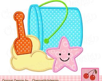"""Beach bucket  Summer Machine Embroidery Applique SUM0001- 4x4 5x5 6x6"""""""