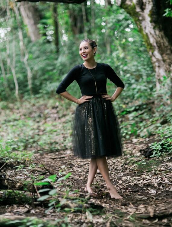 Black and Gold Tessa Sparkle Tutu Skirt