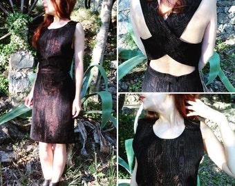 French 1960s X back strap black red moiré silk dress