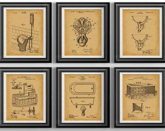 Bathroom Art Patent Prints * Bathroom Wall Art * Bathroom Wall Decor * Mothers Day Gift for Wife Gift * Bathroom Decor Set of 6 PP 1611