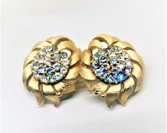 Rhinestone Earrings - Vintage, Crown Trifari Signed, Gold Tone, Clip on