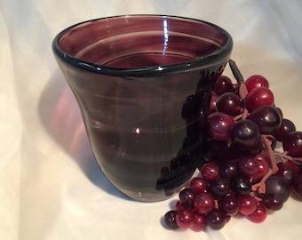 Small Blown Glass Aubergine Vase.  Hand Blown Glass Vase with Spiral.  Aubergine Vase.  Fall Decor.