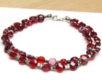 Multi Strand Red Beaded Bracelet with Vintage Red Beads and Cut Silver Beads 7.5""