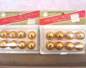 2 Packages Vintage Gold Feather Tree Christmas Ornaments Gold Mini Smaller Glass Ornaments