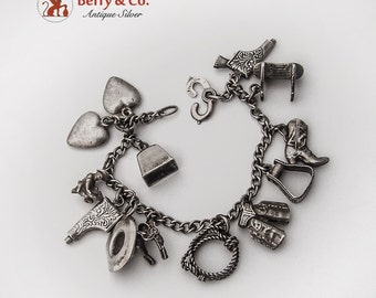 Western Charm Bracelet 12 Figural Charms Sterling Silver