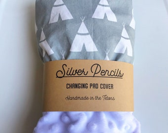 Changing Pad Cover, Gray, Teepee, Blue, White, Adventure, Diaper, Baby Shower, Gift, Newborn, Boy