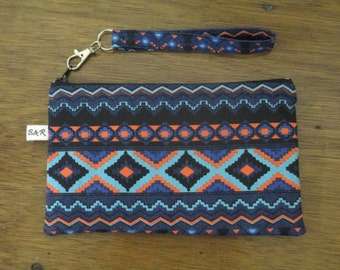 Aztec Wristlet Clutch Purse, Zipper Pouch, Ready to Ship