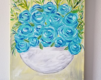 Spring bouquet acrylic painting, blue floral painting, whimsical canvas floral art, abstract original painting, 11 x 14 wall art