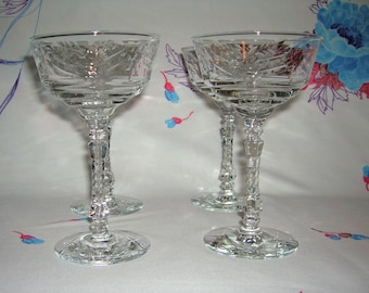 4 Vintage Libbey Rock Sharpe Champagne/Tall sherbets In Arctic Rose Pattern