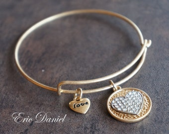 Love Heart Charm Bangle in Gold, Love Bangle, Heart Bracelet, Love Bracelet, Love Bangle, Charm Bangle