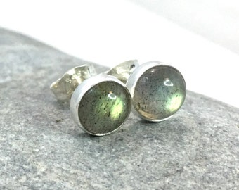 Labradorite Stud Earrings ... 6mm Labradorite Studs .. Labradorite Earrings .. Handmade Jewelry