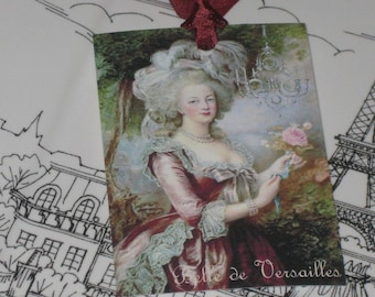 Marie Antoinette Gift Tag with Pink Rose Versailles