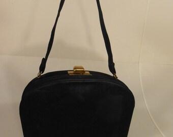 My Life in a Stealth Bag - Vintage WW2 1940s Black Nubuck Leather Handbag