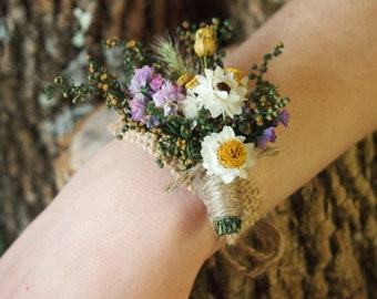 Wrist CORSAGE - Dried Flowers - Simple and Dainty - Perfect for Country Rustic Weddings