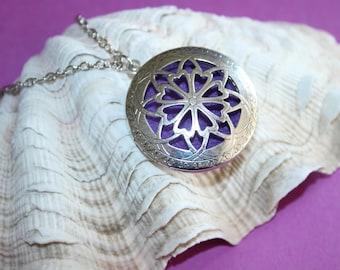 Silver Color Diffuser Locket Necklace