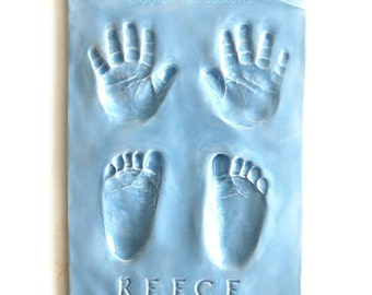 Baby Handprints and Footprints in Ceramic - Gift for Dad - Personalized Baby Gift - Newborn Keepsake - Gift For New Mom - Gift For New Baby