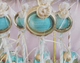 Beach Bridal Shower Themed Cake Pops