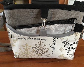 Reversible Sleeve, Handbag, Homemade, Multiple inside Pockets, Adjustable Straps, Fabric Purse, Extra Zipper Pouch