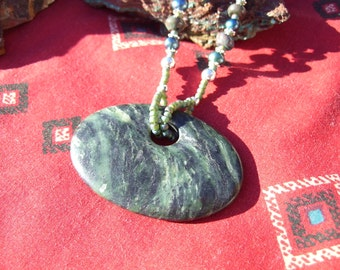 Jade pendant necklace with freshwater pearls