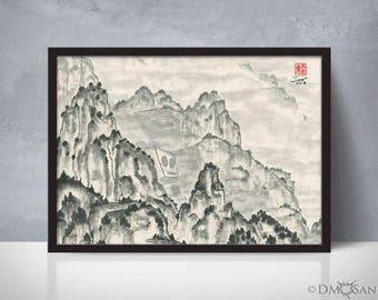Reclusive Robot - foggy mountain sumi-e watercolor painting - 5x7 (Print)
