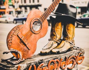 "Nashville Photography, Fine Art Print, Music Art, Nashville Wall Art, Live Music Sign, Orange, Red, Decor, Cowboy Boots, Guitar - ""Showtime"""