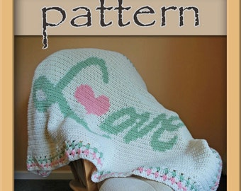 PATTERN Crochet Love Afghan version 2 PDF No. 112 - Instant Download