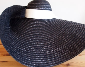 Straw hat with very wide brim
