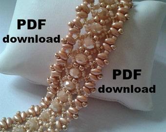 PDF pattern, superduo bracelet, pattern download, PDF tutorial, pattern bijoux