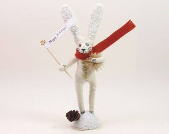 READY TO SHIP Vintage Inspired Spun Cotton Winter Bunny Rabbit Figure