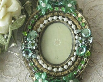 Hand Decorated Jeweled Small Vintage Picture Frame - Made In Italy - Artist One of a Kind