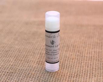Lip Balm, Peppermint, Natural Homemade Lip Balm, Beeswax Lip Balm, Shea Butter Lip Balm