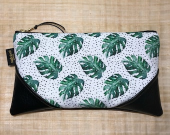 Large Monstera Spots Zipper Pouch / Clutch with inside lining and Zipper Pull or Leather Wrist Strap