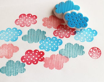 cloud rubber stamps | polka dot stripes | weather stamp | birthday baby shower card making | hand carved by talktothesun | set of 2