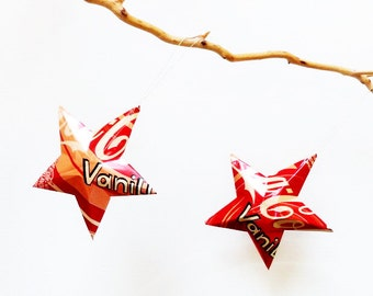 Vanilla Coke Stars Christmas Ornaments Soda Can Upcycled Coca Cola