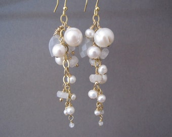 Moonstone and Pearl Cluster Earrings