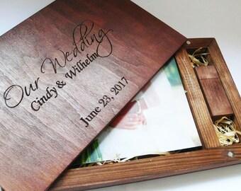 Wedding Wooden Photo Box 4''x6''(10x15 cm)with 8/16/32gb Usb Valentines Day Gift Wedding Album Photographer Packaging Photo Album Photo Book