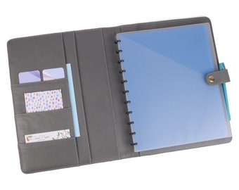 READY TO SHIP! Grey Aldo A4 Side Opening Note Book Holder. Lots of pockets.