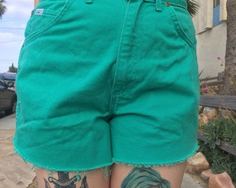 Vintage 1980s CHIC high waisted teal cutoff shorts mom jeans
