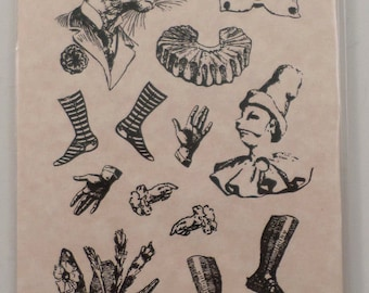 Stampington & Co Out Of The Hurly Burly Wonderland Paper Doll Rubber Stamp S7327