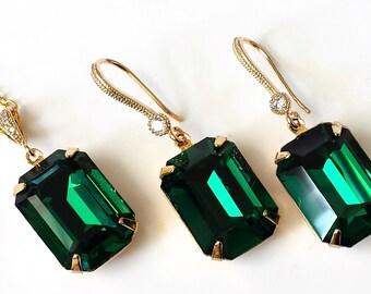 Swarovski Emerald Green Jewelry Set Emerald and Gold Crystal Jewelry Wedding Bridal Jewelry Set Emerald Green Art Deco Jewelry