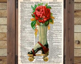 French flower ad, roller derby art, vintage rollerskates art