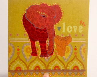 Elephant love greetings card original design