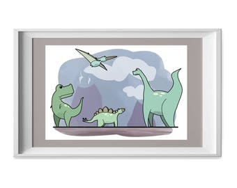 Boys or Childrens Dinosaurs Print, Illustration, Instant Download, Wall Art, Nursery, Kids Room,