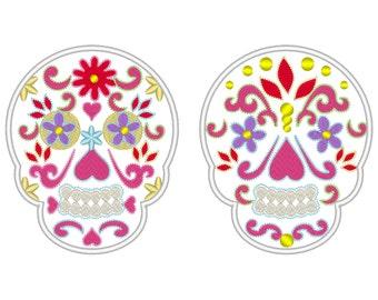 Sugar Skull, Day of the Dead Sugar Skull embroidery applique, Dia de los Muertos, Mr and Mrs - embroidery designs 4x4 and 5x7