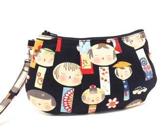 Clutch Purse, Pleated Wristlet, Kokeshi Dolls on Black