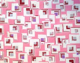 "Retro Pink Geometric Print Fabric- 34.5"" wide, Cotton- Pink, Lavender, Brown & White Squares- 1 yard"