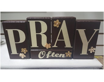 Pray Often Wood Block Set