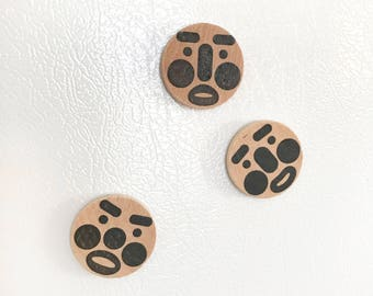 Three Siblings Magnets - all black, wood, simple, cute, modern, handmade, set of 3, stamped, hand stamped